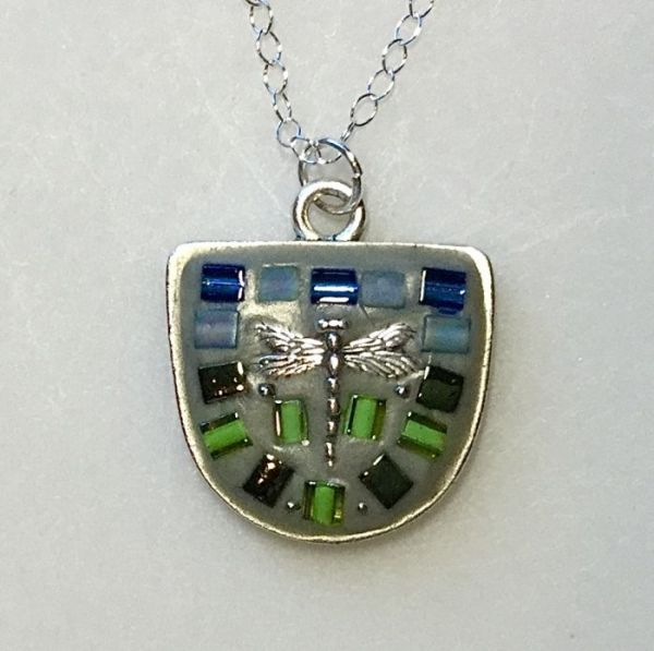 Blue Green Dragonfly in Half Oval in Mosaic Jewelry at Windy Sea Designs