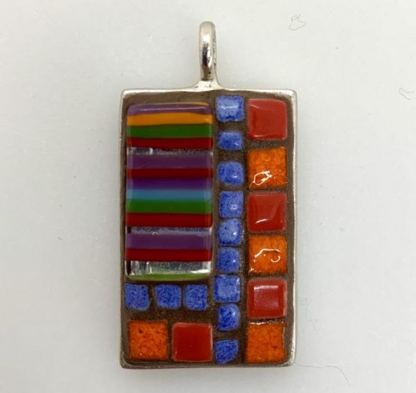 Tapestry With Blue, Red, and Orange Squares in Mosaic Jewelry at Windy Sea Designs