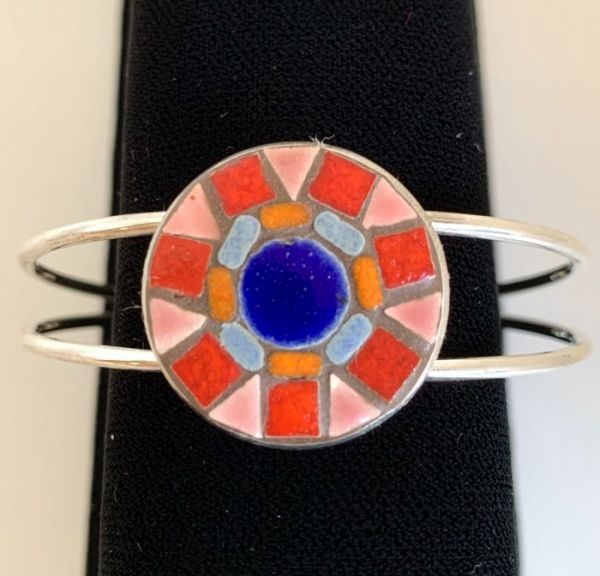 Red Mandala Bracelet in Mosaic Jewelry at Windy Sea Designs