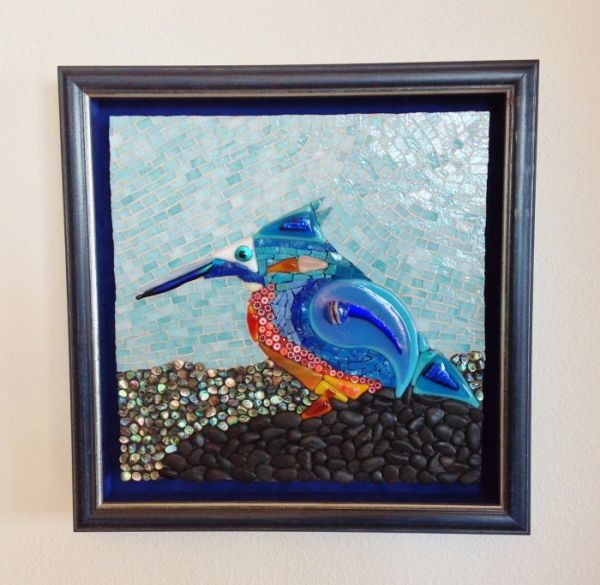 Kingfisher in Mosaics at Windy Sea Designs