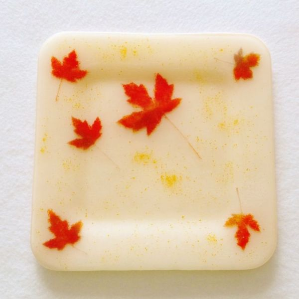 Maple Leaves Platter in Fused Glass at Windy Sea Designs