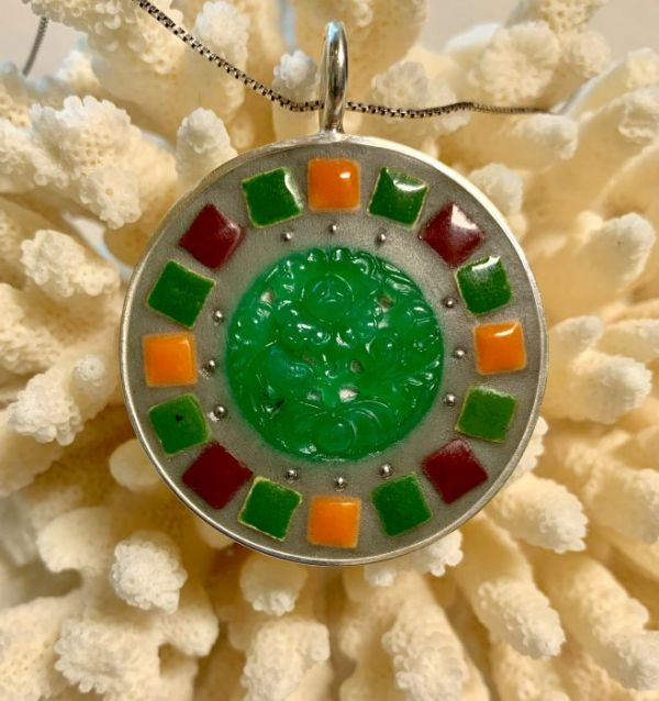 Jadeite Floral in Mosaic Jewelry at Windy Sea Designs