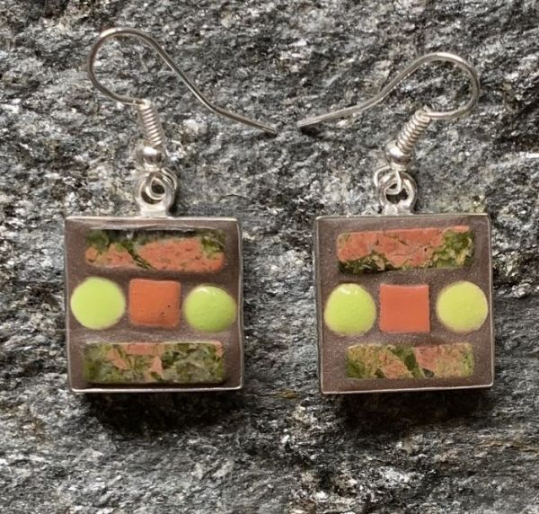 Unakite Square Mosaic Earrings in Mosaic Jewelry at Windy Sea Designs